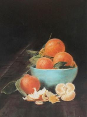 Tangerines in a blue cup. Fomina Lyudmila