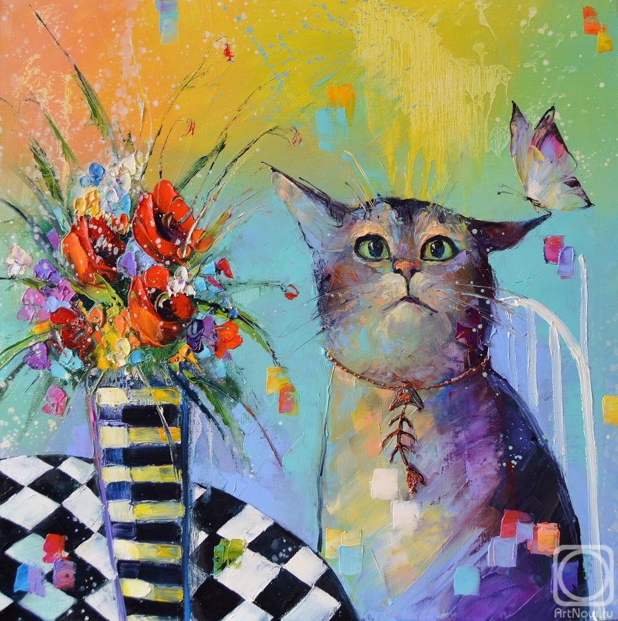 Moiseyeva Liana. cat and butterfly