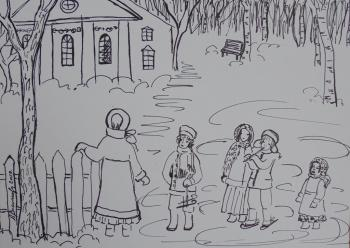Pushkin and sister in Zakharovo at Christmas 1808 - 09