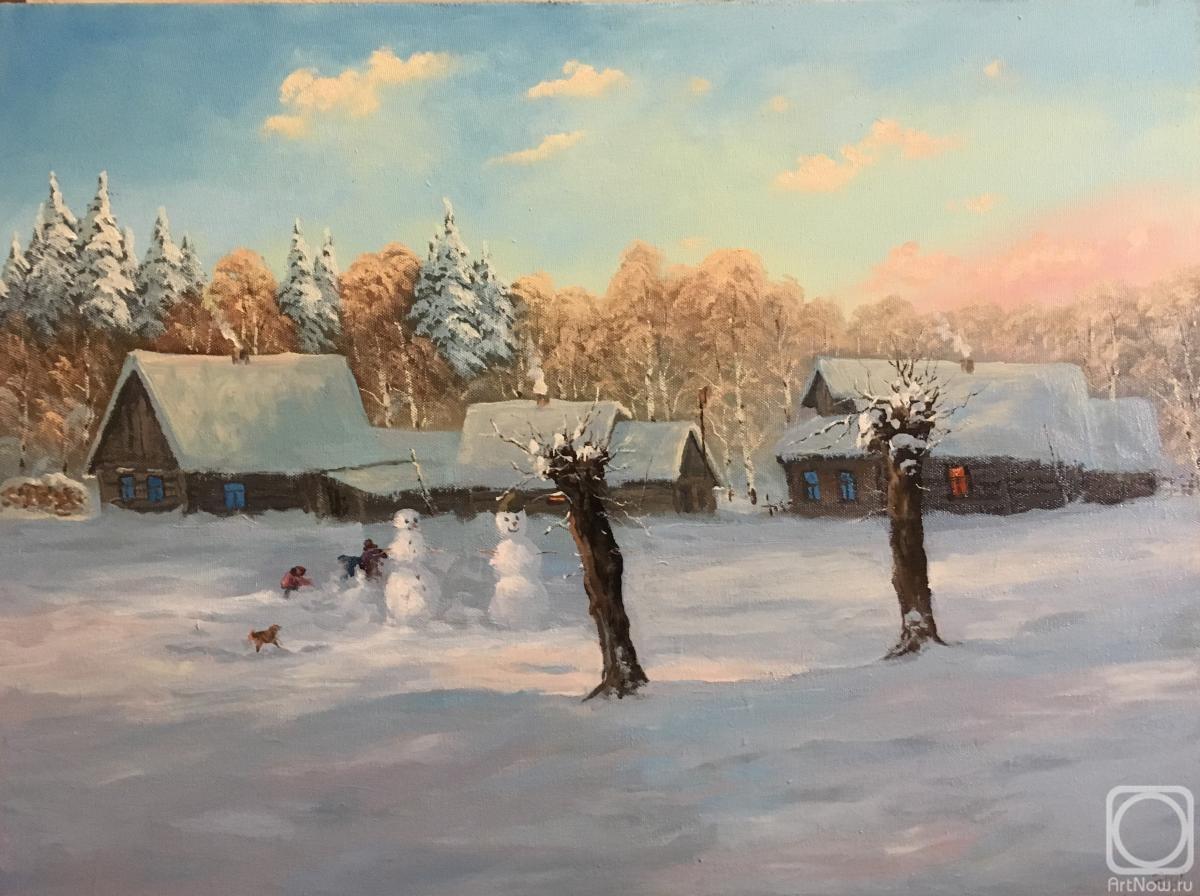 Прикольные картинки про зиму с деревней