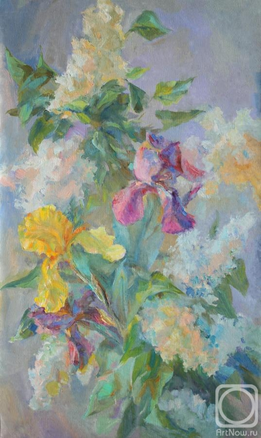 Mirgorod Irina. Irises in clouds of lilac