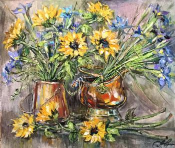 Charina Anna. Sunflowers and irises