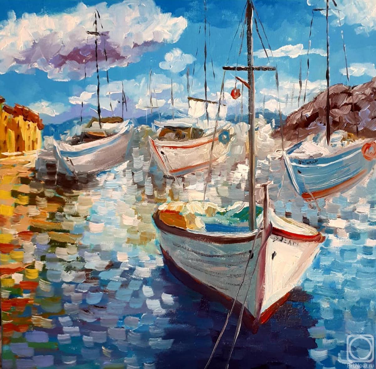 Картинки с лодками маслом