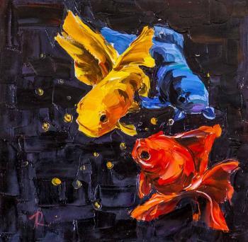 Три рыбы породы Желтый каранкс - фото и обои. Красивая картинка ...   342x350