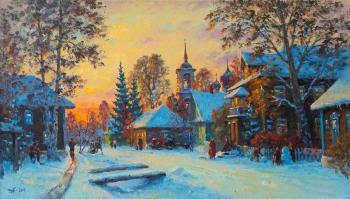 Alexandrovsky Alexander. Street in Kargopol, Winter evening