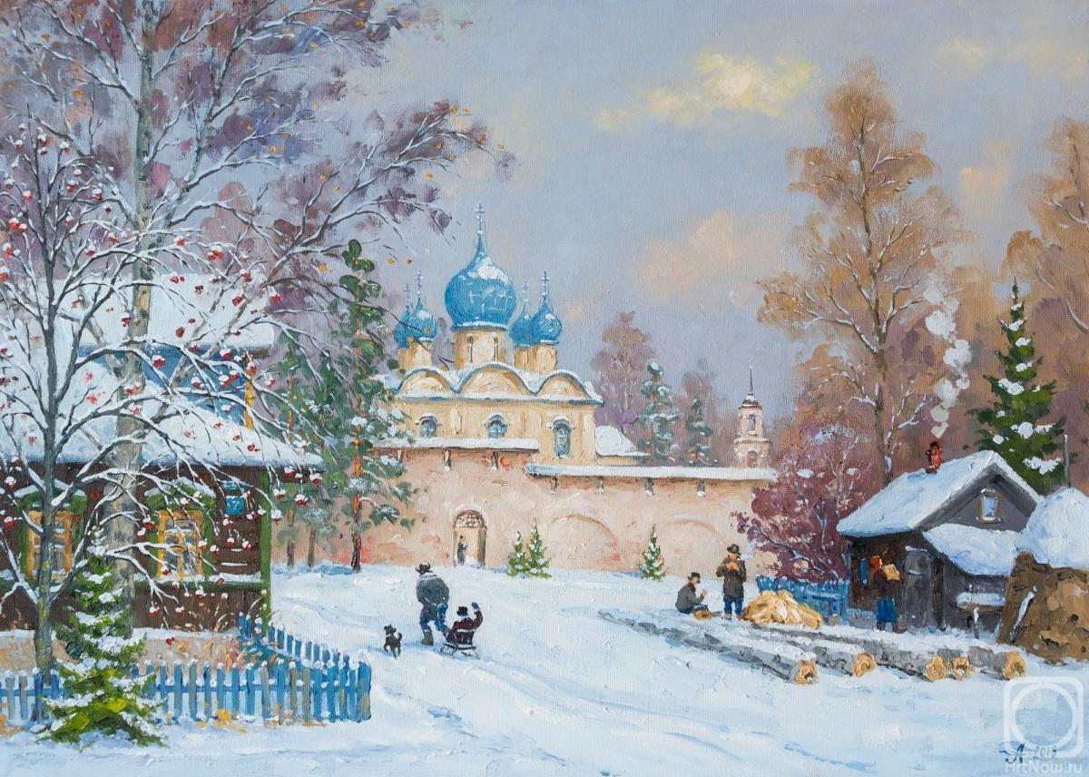 Торжок, зимний день» картина Александровского Александра маслом на холсте —  купить на ArtNow.ru