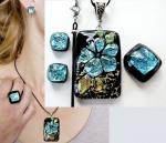 "A set of jewelry made of fused glass with dichroic ""Snowdrop"" glass fusing. Repina Elena"