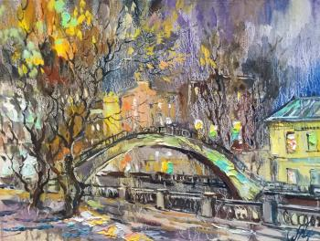 Charina Anna. Winter evening. Sadovnichesky bridge