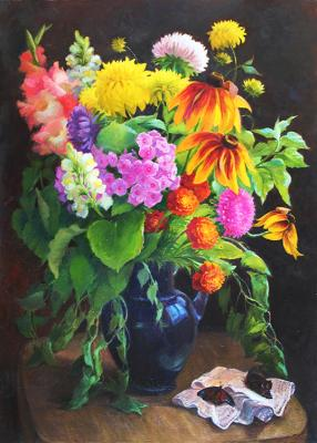 Shumakova Elena. Bouquet and butterflies