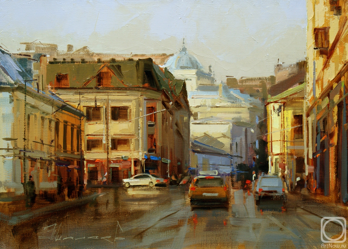 Shalaev Alexey. Through the puddles. Moscow, Solyanka street