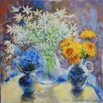 Still life with dandelions, forget-me-nots and asterisks. Simonova Olga