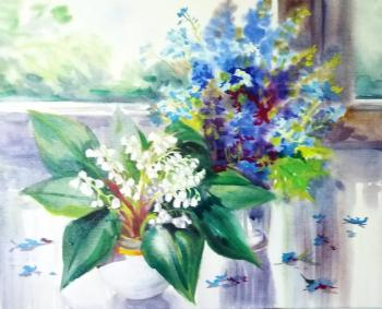 Mikhalskaya Katya. Lilies of the valley and forget-me-nots on the window