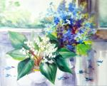 Lilies of the valley and forget-me-nots on the window