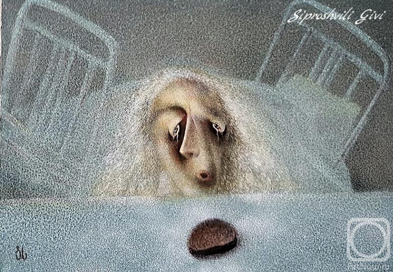 Картина маслом на холсте. Сипрошвили Гиви. Голод не тетка