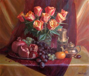 Orange roses and pomegranates. Krasnova Nina