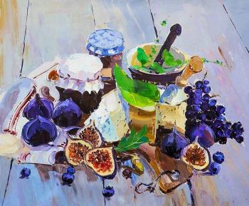 Rodries Jose. Still Life with Figs, Cheese and Grapes