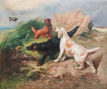 Hunter sketches. Setters on a hunt. Kamskij Savelij