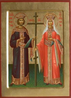 The icon of Saints Constantine and Helena