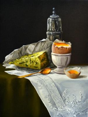 Belova Olga. still-life with cheese and egg