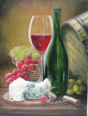 Still life with wine, cheese and grapes. Fomina Lyudmila