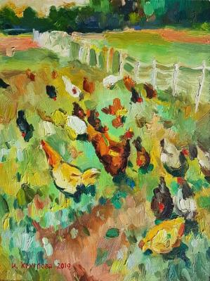 Chickens at the fence. Kruglova Irina