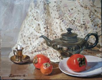 Persimmon and lace still life