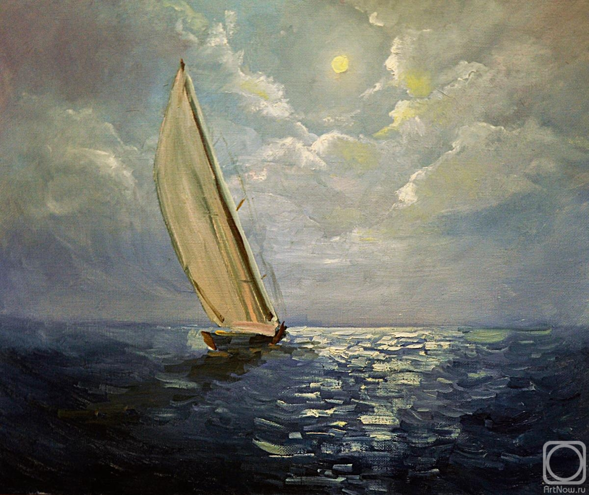Zubkova Darya. Twilight. Sailboat
