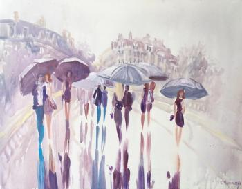 Mikhalskaya Katya. Paris. Rain on the bridge