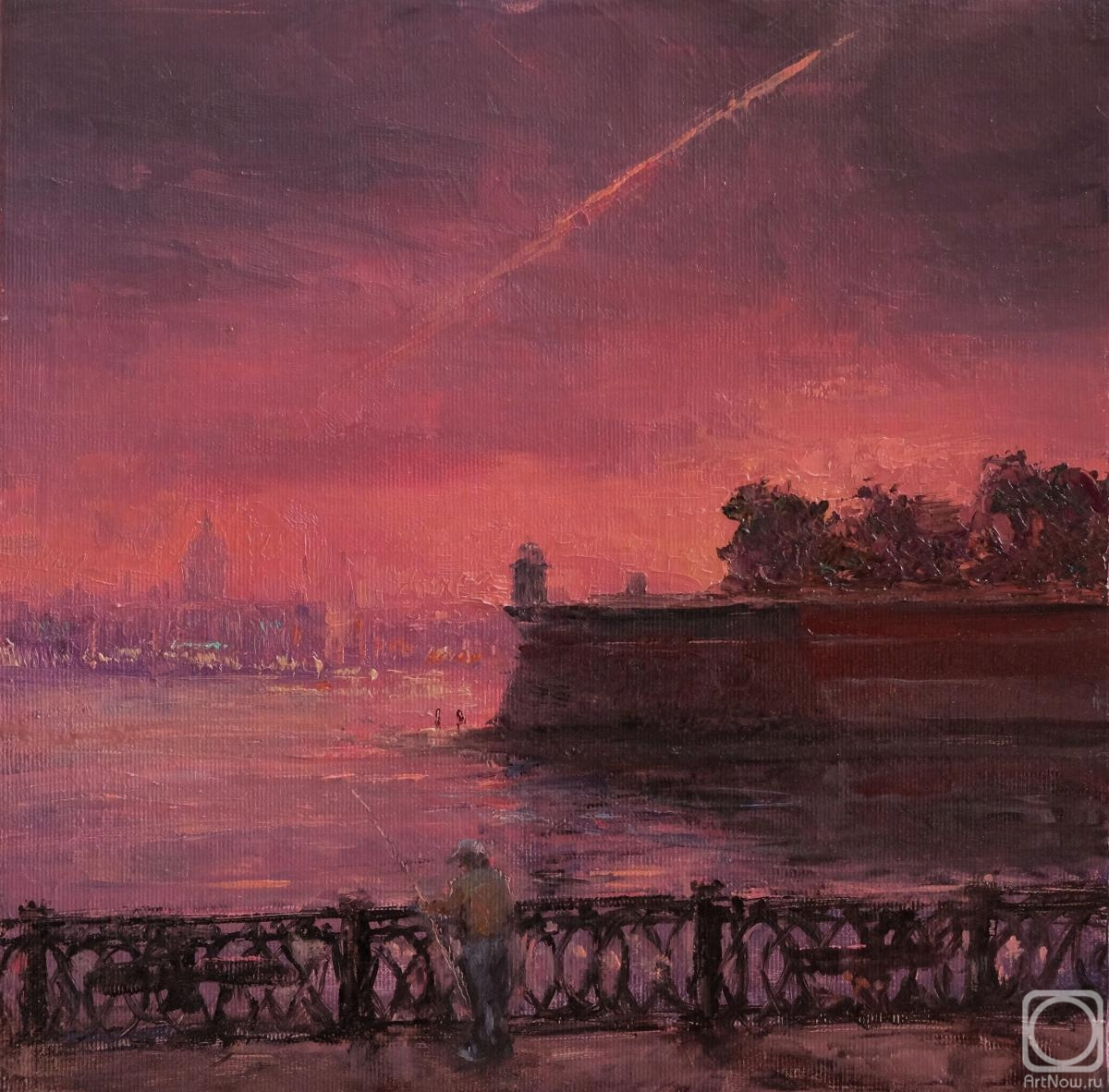 Solovev Alexey. Red sunset at Neva River