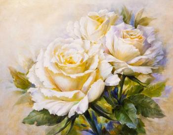 A free copy of Igor Levashov's painting. A Bouquet of Tender Roses. Kamskij Savelij