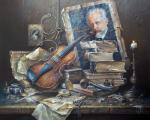 Still life with an old violin. Zhelonkin Alexander