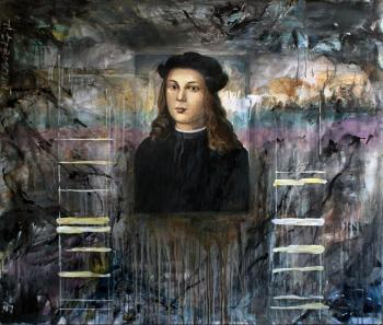 Composition with medieval portrait (Drips). Drozdovsky Alexander