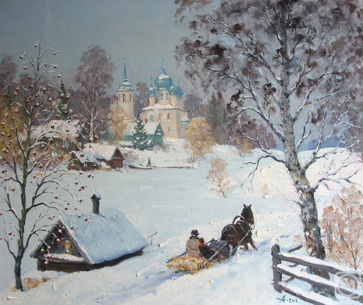 Alexandrovsky Alexander. Russian winter on Volkhov river