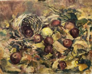 Autumn still life with yellow Apple