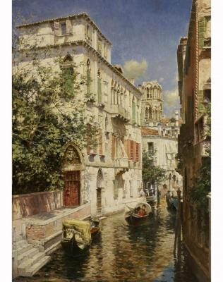 A Venetian canal. Copy of the film. The Artist Rubens Santoro