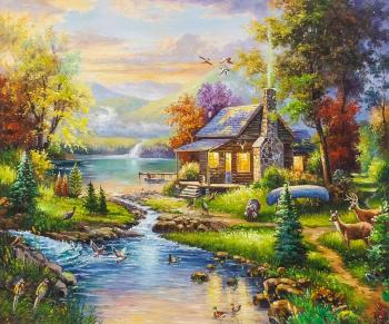 Copy of Thomas Kinkade's painting. Natural Paradise. Romm Alexandr
