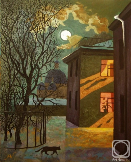 ночь, луна, Петербург, кот, тайна, снег, окно