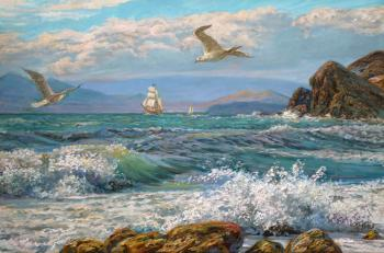 Albatross over the sea. Panov Eduard