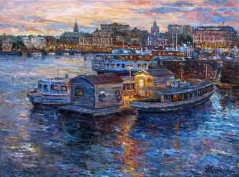 Evening mooring in Stockholm. Kolokolov Anton