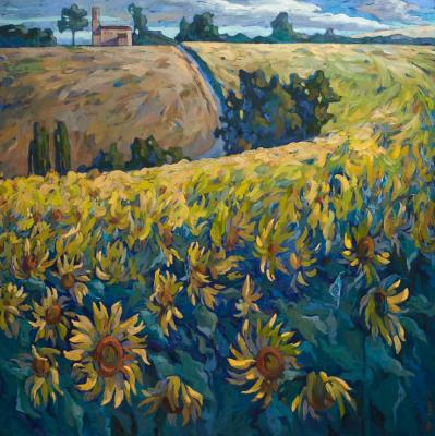 Goda Laima. At the edge of the sunflower field. France II