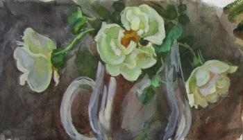 Three white roses in a glass vase 2. Dobrovolskaya Gayane