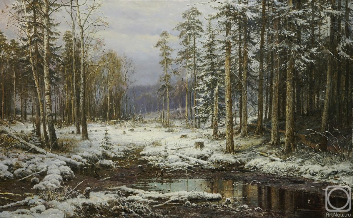Aleksandrov Vladimir. Copy of painting. Ivan Shishkin. The first snow