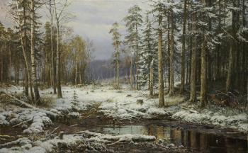 Copy of painting. Ivan Shishkin. The first snow
