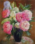 Peonies and irises in a vase. Shumakova Elena