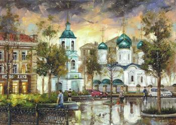 Boev Sergey. Moscow. The view from Sukharevskaya square on the Sretenka street and the Holy Trinity Church in Sheets