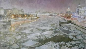 Thaw. View of the Moscow river from the Krasnokholmsky bridge. Volkova Tatiana