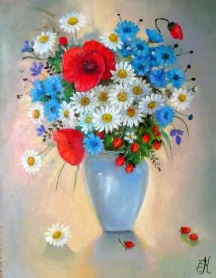 Still life with bouquet of wild flowers and wild strawberries. Kropacheva Elena
