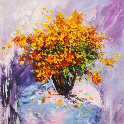 A bouquet of yellow flowers in a vase. Vevers Christina
