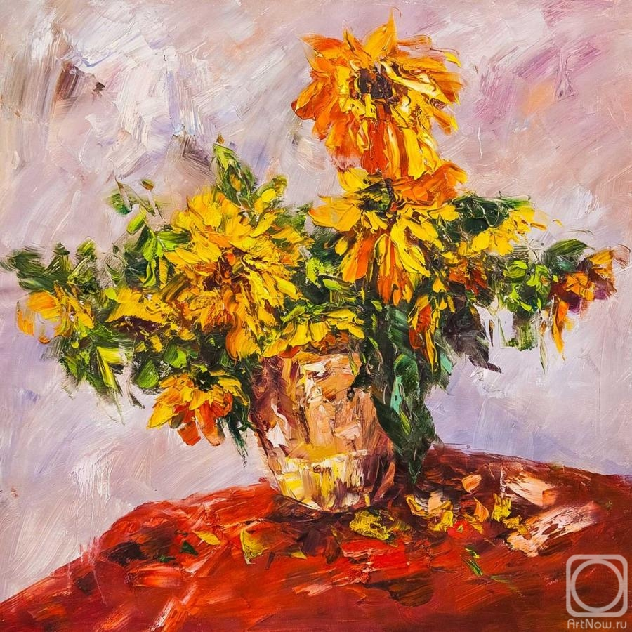 Vevers Christina. Garden sunflowers in a vase