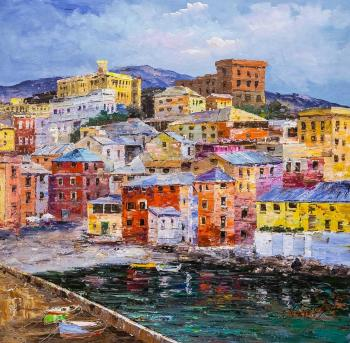Italian holidays. View of Genoa (Landscape From Nature). Vevers Christina